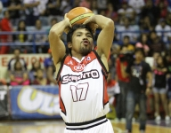 Manny Pacquiao scores his first basket in the Filipino League