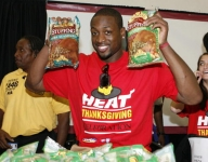 NBA players at Thanksgiving events through the years