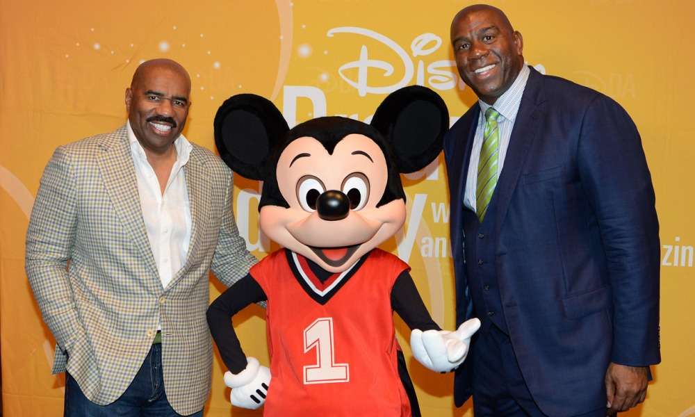 Steve Harvey, Magic Johnson and Mickey Mouse at Disney