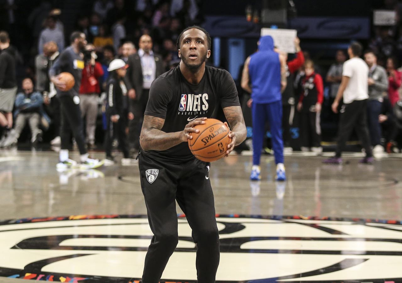Taurean Prince practicing free throws before a game