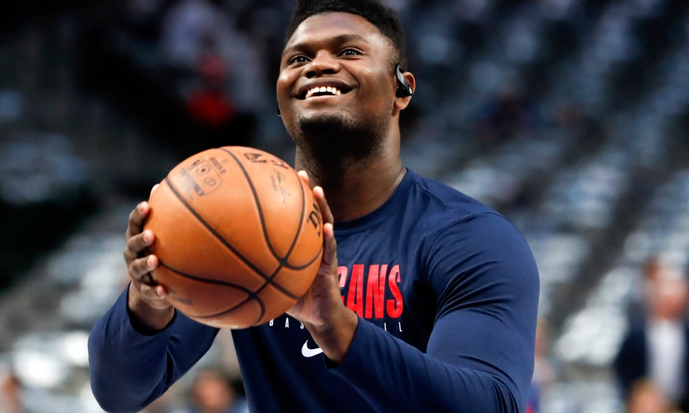 Zion Williamson smiles before a free throw attempt