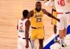 LeBron James greets Kawhi Leonard