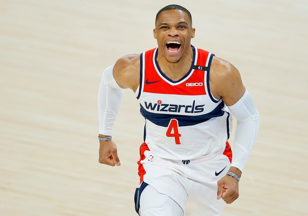 Russell Westbrook celebrates a play