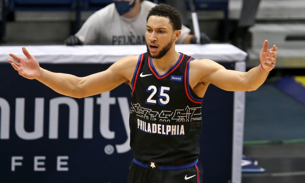 Ben Simmons complains during a game