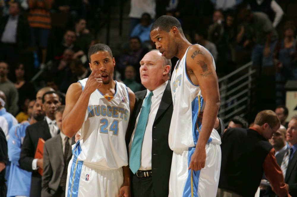 Andre Miller, coach George Karl and Marcus Camby, Denver Nuggets