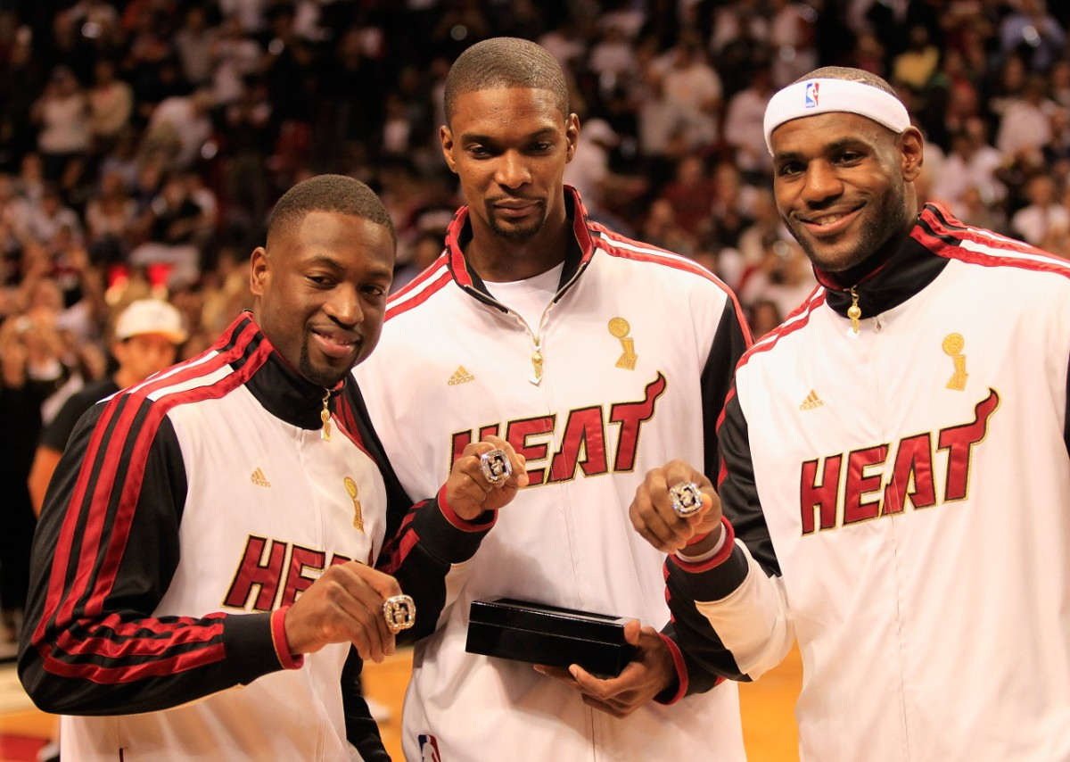 Heat ring ceremony with LeBron James, Dwyane Wade and Chris Bosh