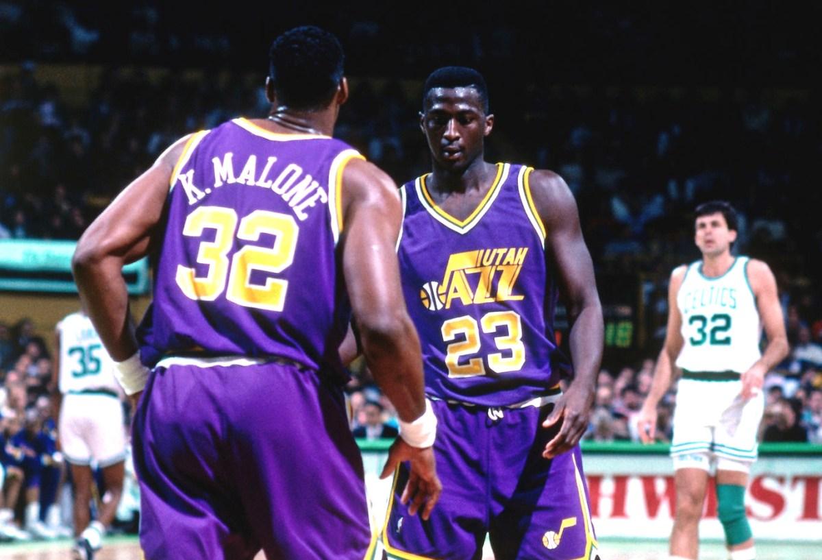 Karl Malone and Tyrone Corbin, Utah Jazz
