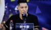 Jeremy Lin talking to the press while being introduced by the Beijing Ducks