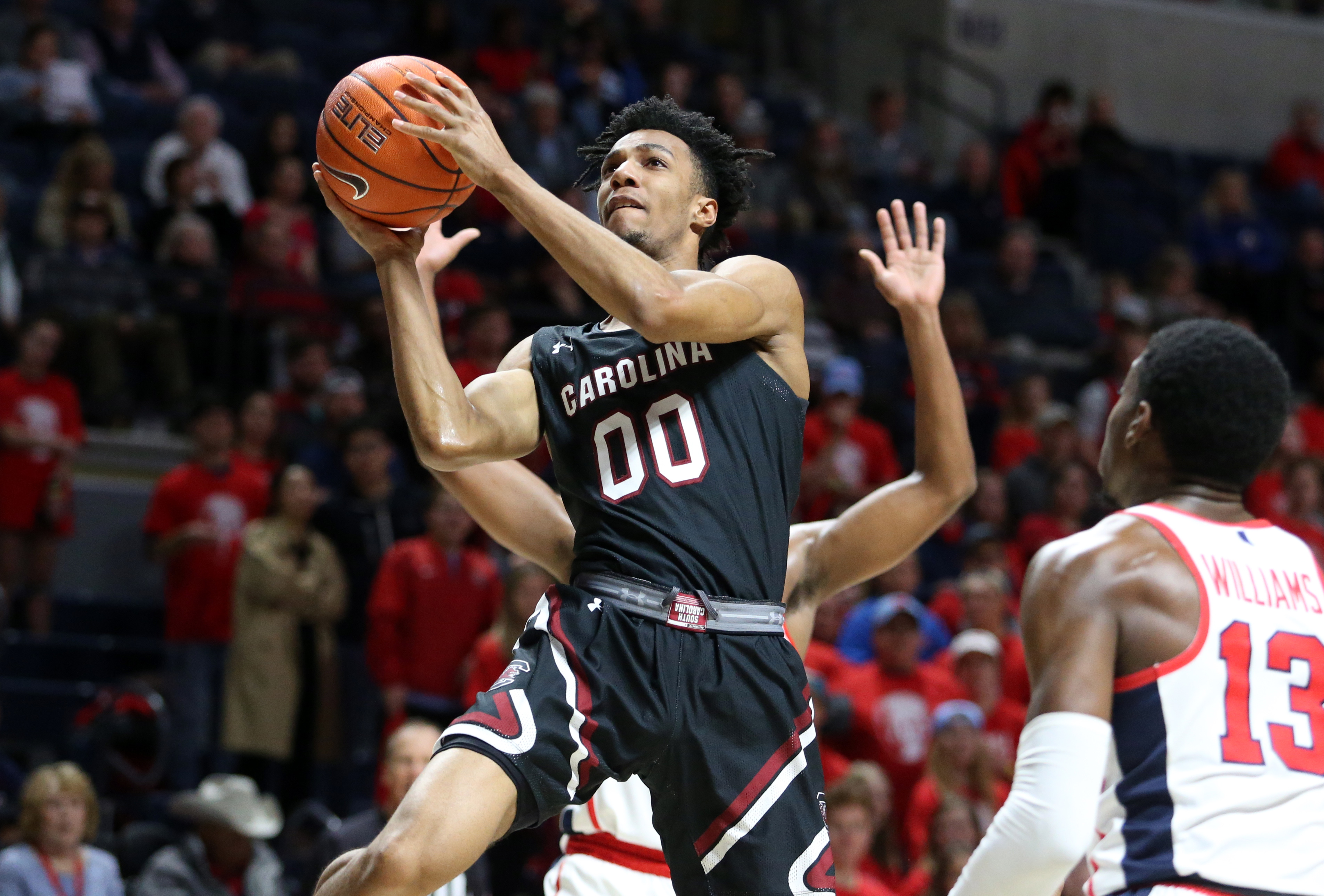 Feb 5, 2020; Oxford, Mississippi, USA; South Carolina Gamecocks guard AJ Lawson (00) shoots during the first half against the Mississippi Rebels at The Pavilion at Ole Miss.