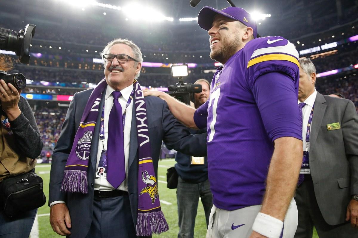 Minnesota Vikings owner Zygi Wilf and Case Keenum