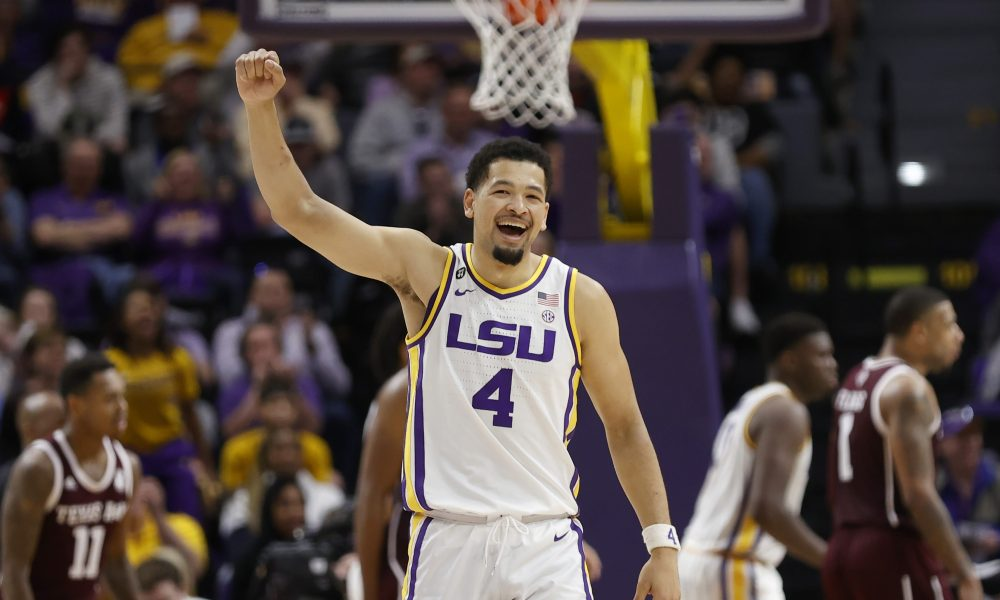 Feb 29, 2020; Baton Rouge, Louisiana, USA; LSU Tigers guard Skylar Mays (4) reacts to a play in the final minute against Texas A&M Aggies during the second half at Maravich Assembly Center.