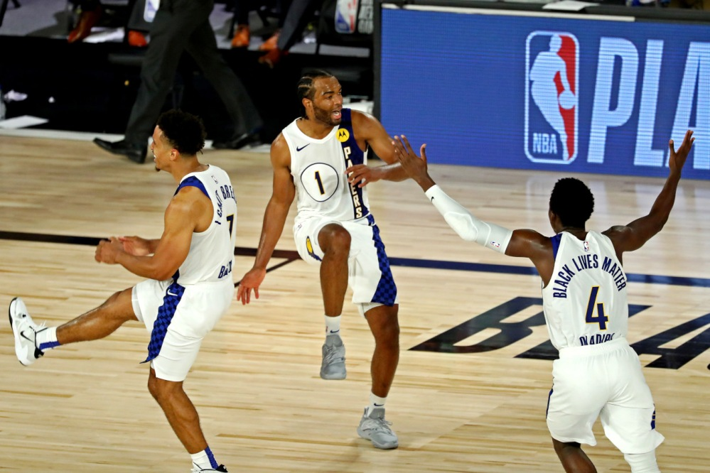 Malcolm Brogdon, TJ Warren and Victor Oladipo and , Indiana Pacers
