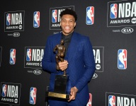 Photos: NBA legends receiving their MVP trophies