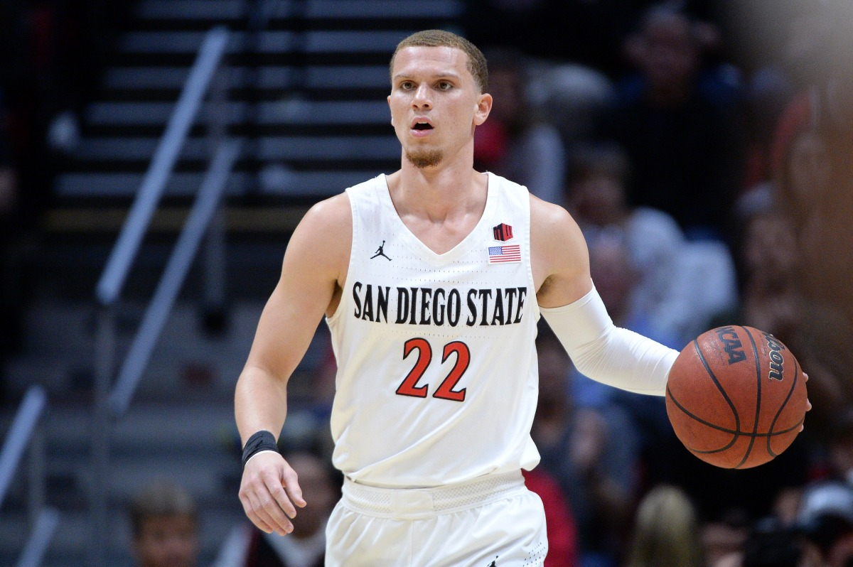 Feb 25, 2020; San Diego, California, USA; San Diego State Aztecs guard Malachi Flynn (22) dribbles the ball during the first half against the Colorado State Rams at Viejas Arena. Mandatory Credit: