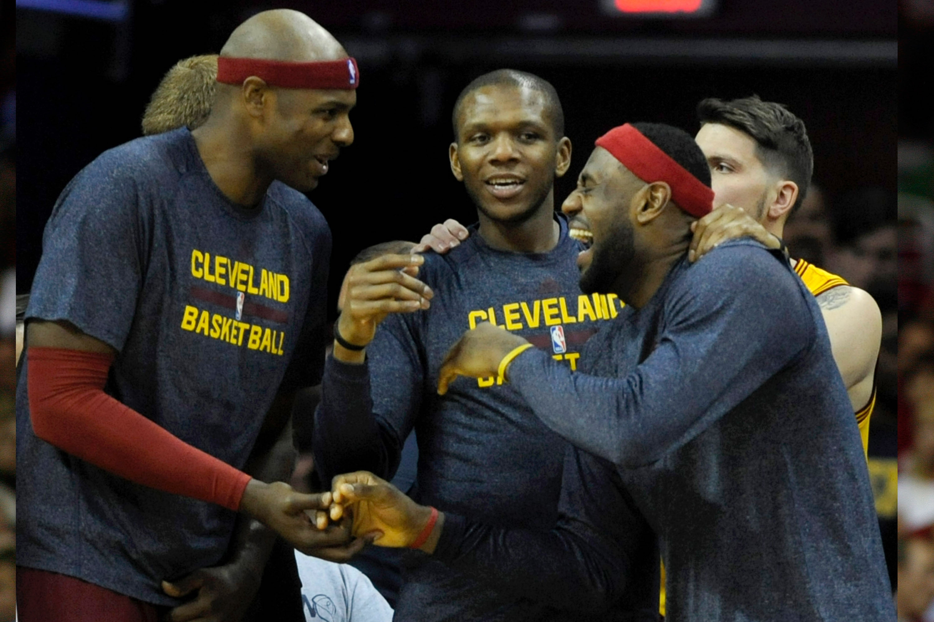 Nov 26, 2014; Cleveland, OH, USA; Cleveland Cavaliers forward LeBron James (23) jokes with center Brendan Haywood (33) and forward James Jones (1) during the fourth quarter against the Washington Wizards at Quicken Loans Arena. The Cavaliers beat the Wizards 113-87. Mandatory Credit: