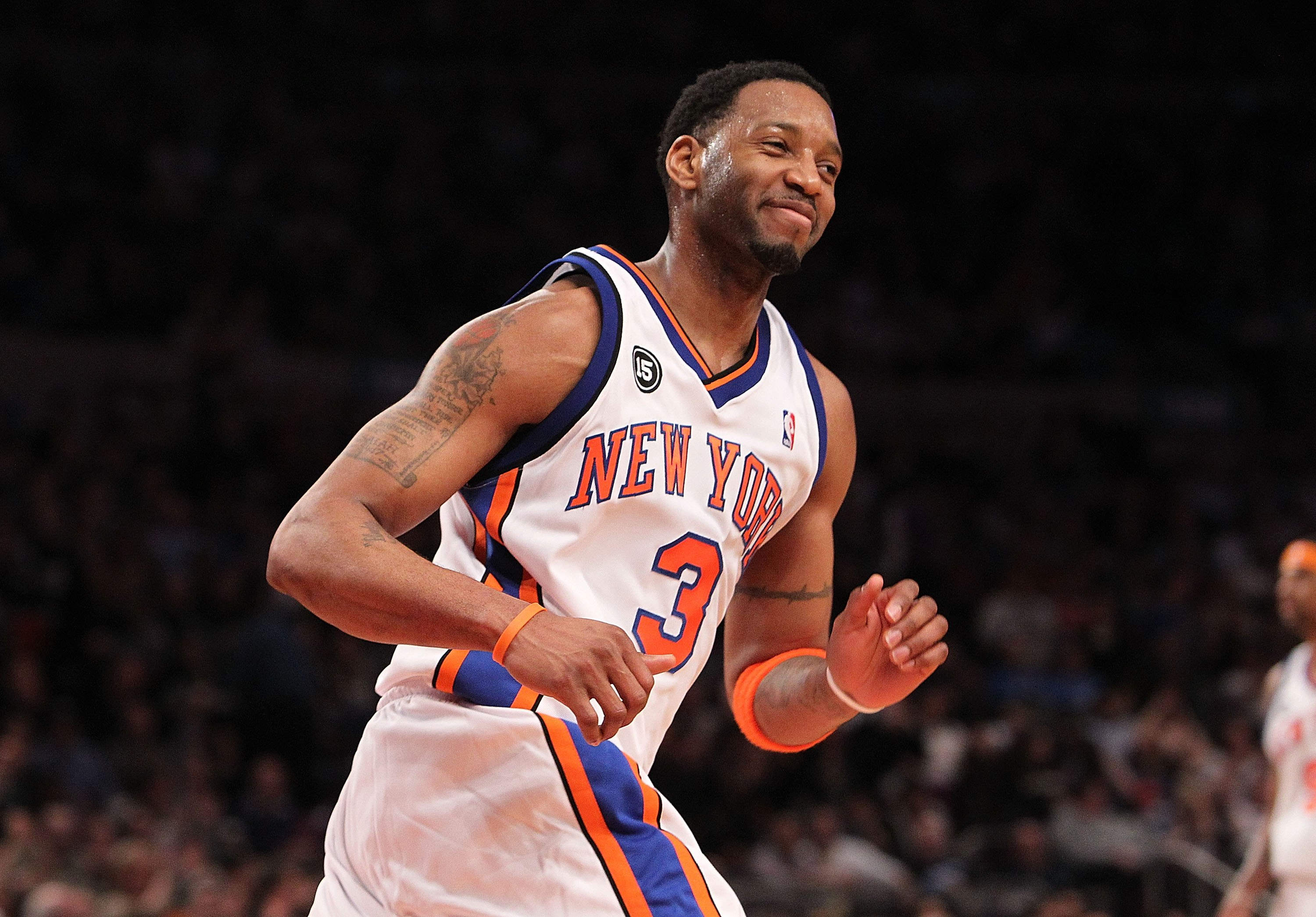 NEW YORK - FEBRUARY 20: Tracy McGrady #3 of the New York Knicks smiles after making a basket against the Oklahoma City Thunder at Madison Square Garden on February 20, 2010 in New York, New York. NOTE TO USER: User expressly acknowledges and agrees that, by downloading and or using this photograph, User is consenting to the terms and conditions of the Getty Images License Agreement.