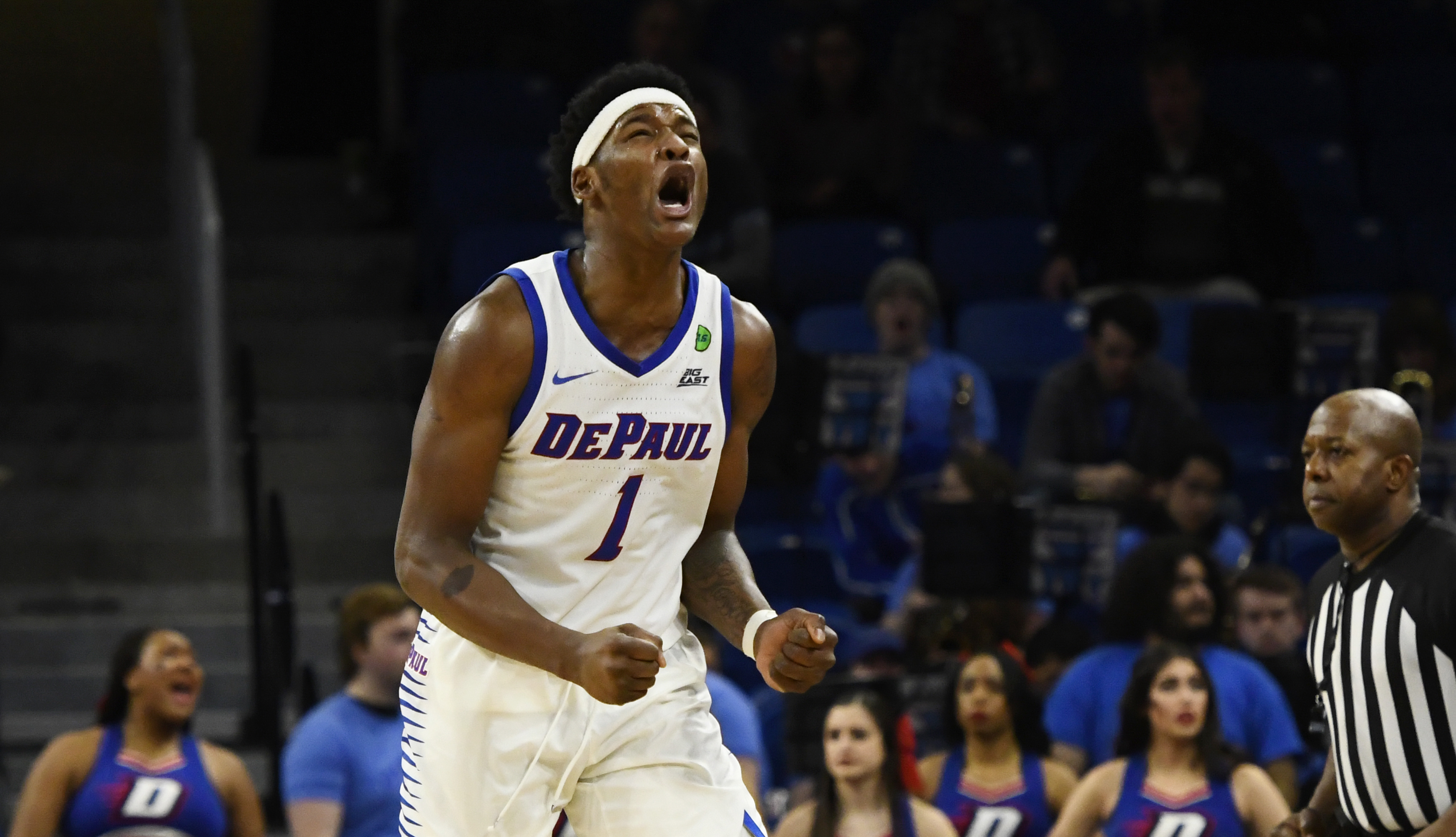 Mar 3, 2020; Chicago, Illinois, USA; DePaul Blue Demons forward Romeo Weems (1) reacts after being called for a foul against Marquette Golden Eagles during the second half at Wintrust Arena. Mandatory Credit: