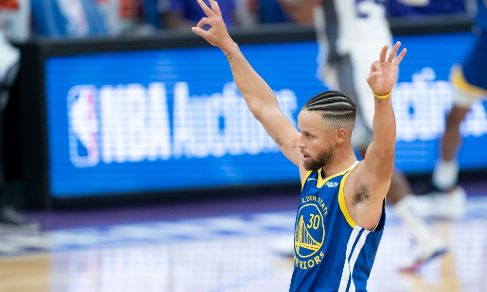 December 17, 2020; Sacramento, California, USA; Golden State Warriors guard Stephen Curry (30) celebrates a three-point basket against the Sacramento Kings during the third quarter at Golden 1 Center.