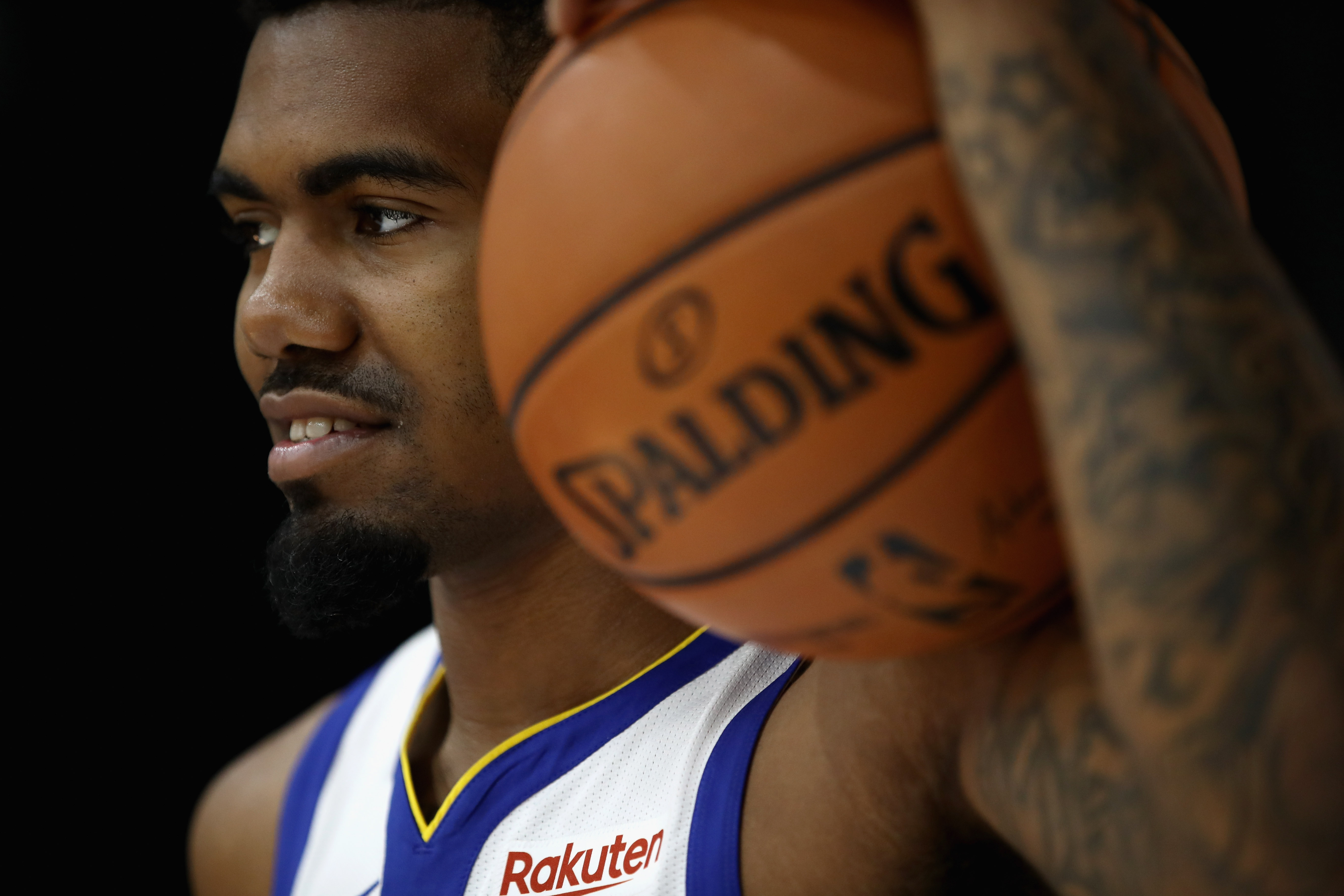 OAKLAND, CA - SEPTEMBER 24: Jacob Evans III #10 of the Golden State Warriors poses for a picture during the Golden State Warriors media day on September 24, 2018 in Oakland, California.