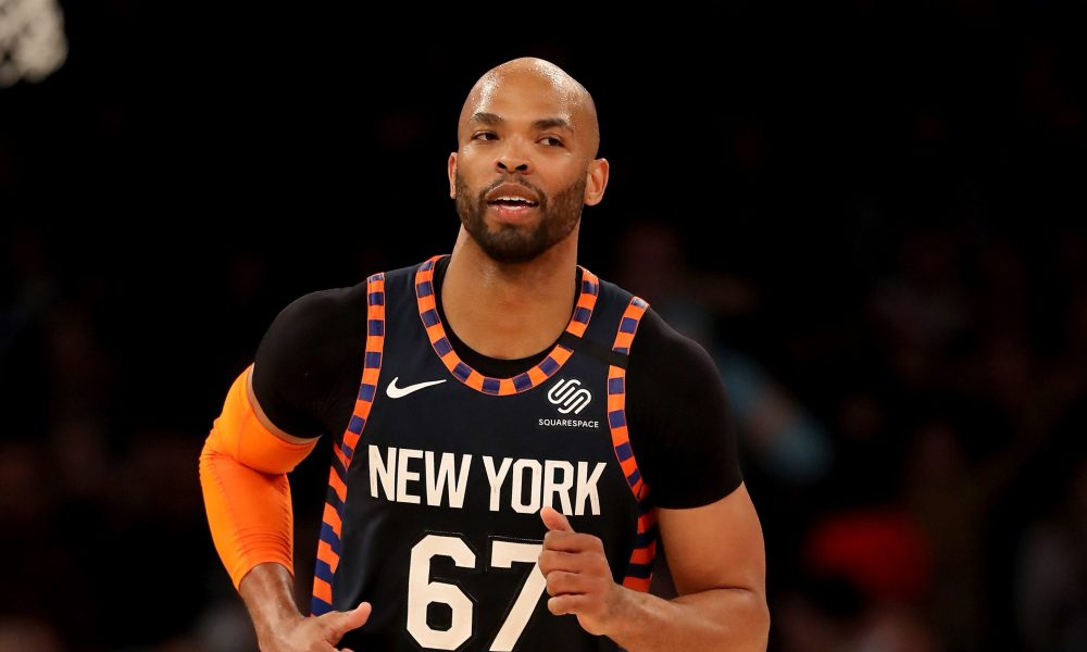 NEW YORK, NEW YORK - FEBRUARY 29: Taj Gibson #67 of the New York Knicks celebrates his shot in the first half against the Chicago Bulls at Madison Square Garden on February 29, 2020 in New York City.NOTE TO USER: User expressly acknowledges and agrees that, by downloading and or using this photograph, User is consenting to the terms and conditions of the Getty Images License Agreement.