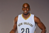 Sep 28, 2015; New Orleans, LA, USA; New Orleans Pelicans forward Quincy Pondexter (20) poses for a portrait during Media Day at the Pelicans Practice Facility.