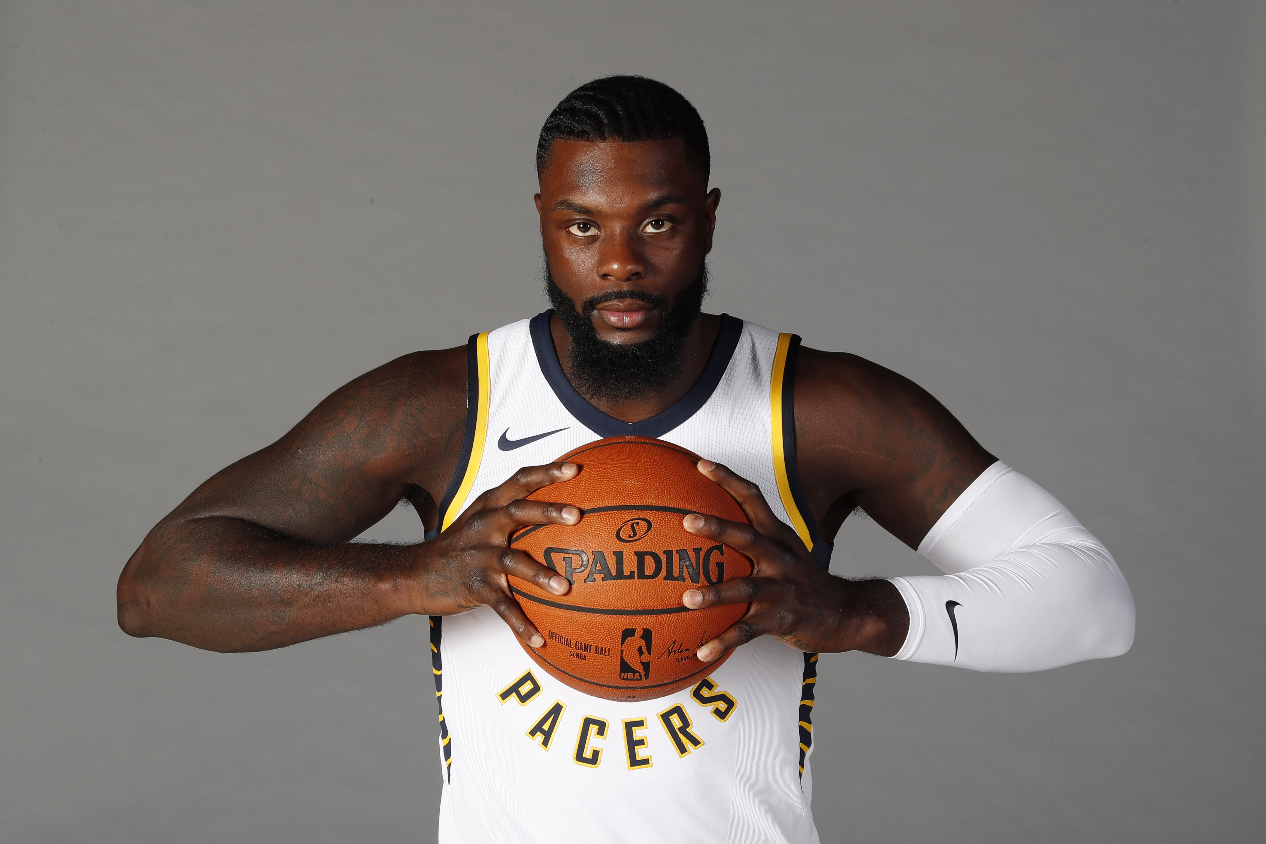 Sep 25, 2017; Indianapolis, IN, USA; Indiana Pacers guard Lance Stephenson (1) poses for a photo on Media Day at St. Vincent Center.