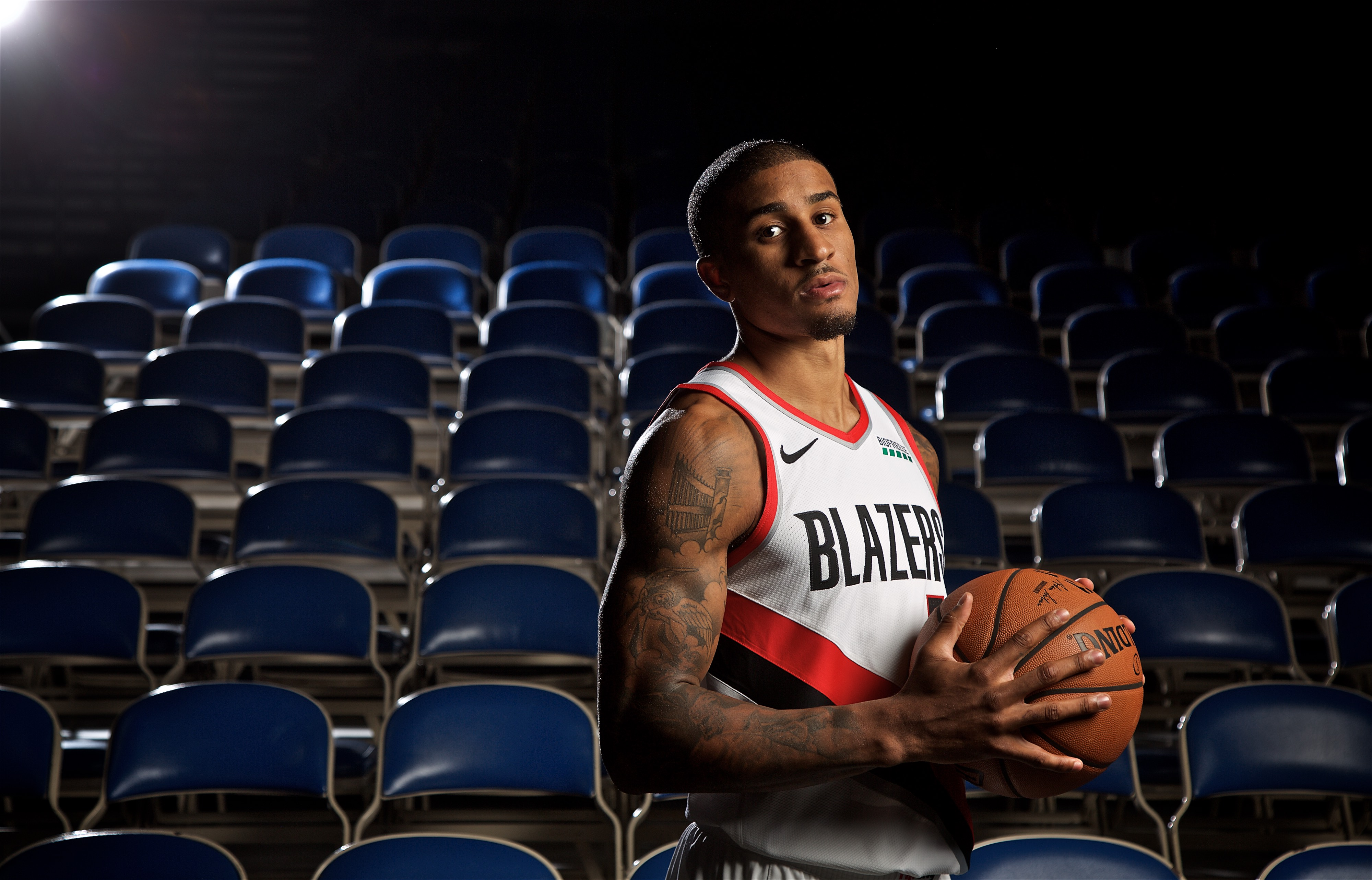 Sep 24, 2018; Portland, OR, USA; Portland Trail Blazers guard Gary Payton II (5) poses for a photo during media day at the Moda Center.