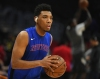 Jan 5, 2020; Los Angeles, California, USA; New York Knicks guard Allonzo Trier (14) warms up before the game against the Los Angeles Clippers at Staples Center.