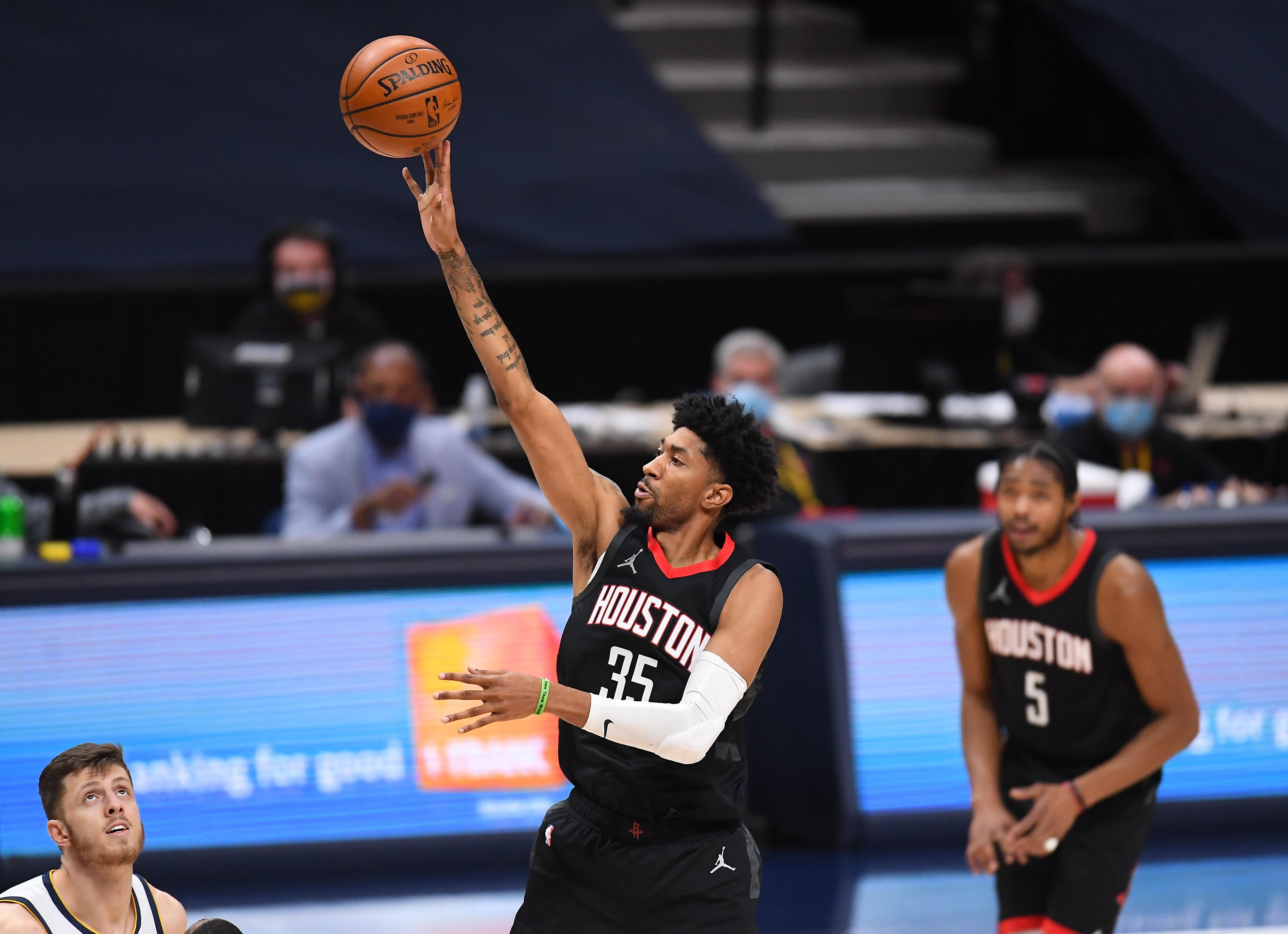 Dec 28, 2020; Denver, Colorado, USA; Houston Rockets forward Christian Wood (35) shoots the ball in the fourth quarter against the Denver Nuggets at Ball Arena.