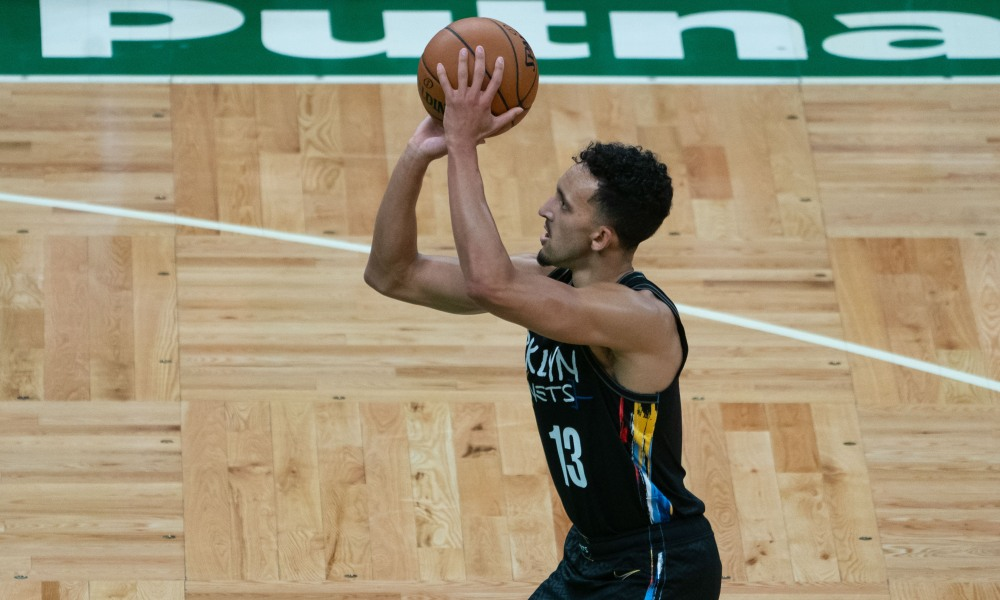 Dec 25, 2020; Boston, Massachusetts, USA; Brooklyn Nets shooting guard Landry Shamet (13) shoots a free throw during the fourth quarter against the Boston Celtics at TD Garden.