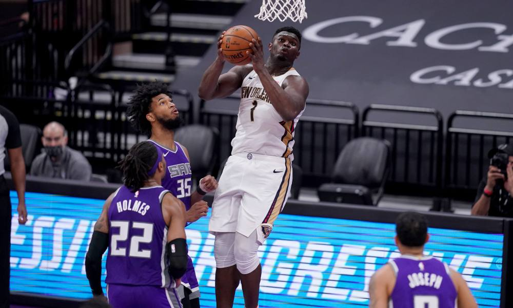 Jan 17, 2021; Sacramento, California, USA; New Orleans Pelicans forward Zion Williamson (1) makes a shot after being fouled against the Sacramento Kings in the fourth quarter at the Golden 1 Center.