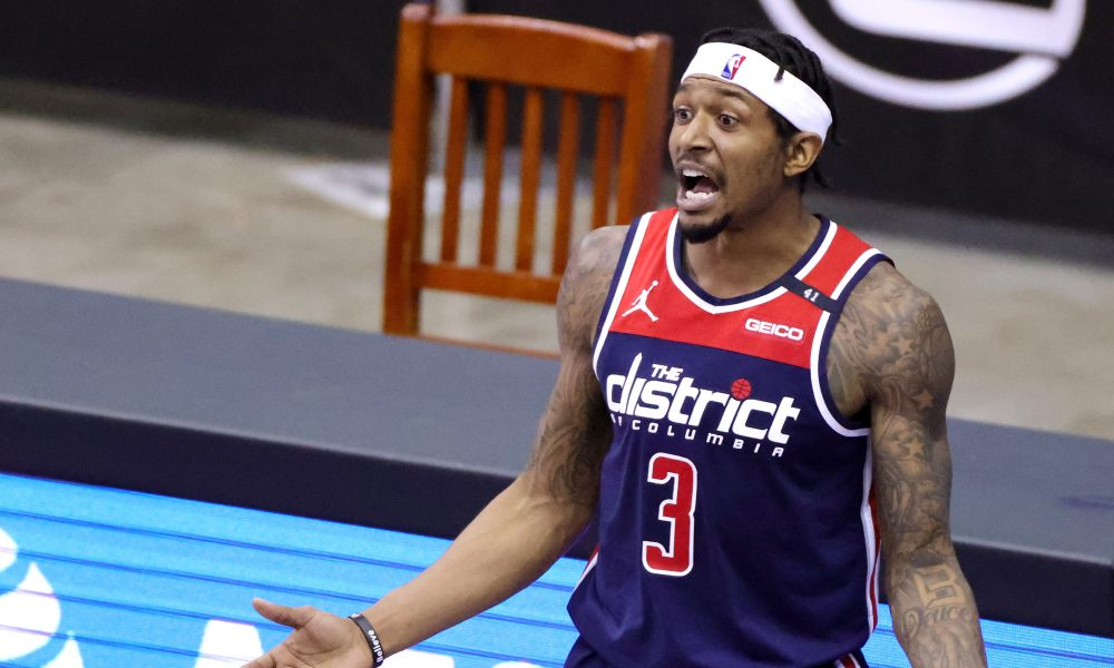 Jan 26, 2021; Houston, Texas, USA; Washington Wizards guard Bradley Beal (3) reacts during the fourth quarter against the Houston Rockets at Toyota Center.