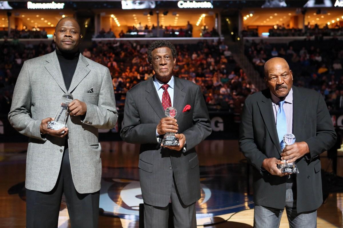 Patrick Ewing, Elgin Baylor and Jim Brown