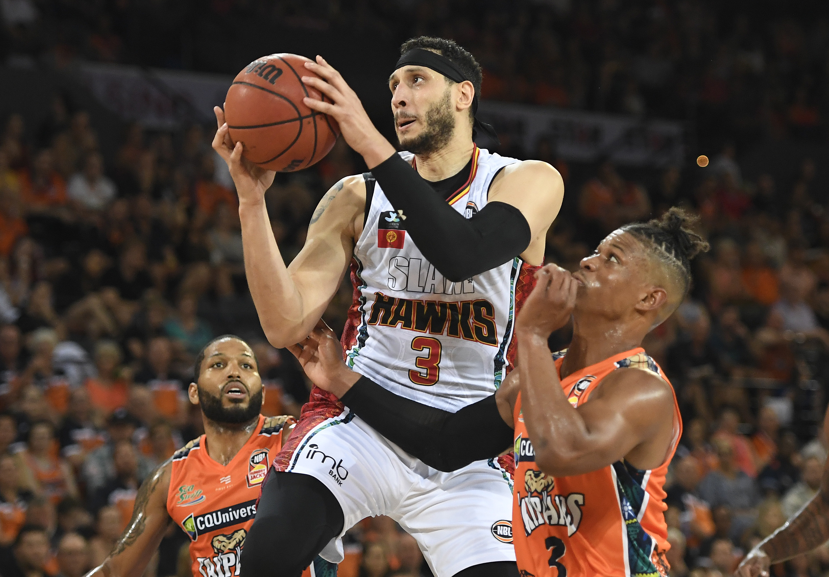 CAIRNS, AUSTRALIA - JANUARY 31: Josh Boone of the Hawks drives to the basket during the round 18 NBL match between the Cairns Taipans and the Illawarra Hawks at the Cairns Convention Centre on January 31, 2020 in Cairns, Australia.