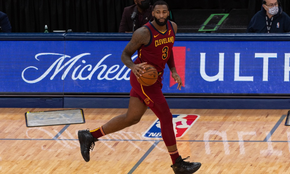 Jan 7, 2021; Memphis, Tennessee, USA; Cleveland Cavaliers center Andre Drummond (3) brings the ball up court during the second half against the Memphis Grizzlies at FedExForum.