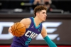 Jan 14, 2021; Tampa, Florida, USA; Charlotte Hornets guard LaMelo Ball (2) brings the ball up the court during the first quarter of a game against the Toronto Raptors at Amalie Arena.