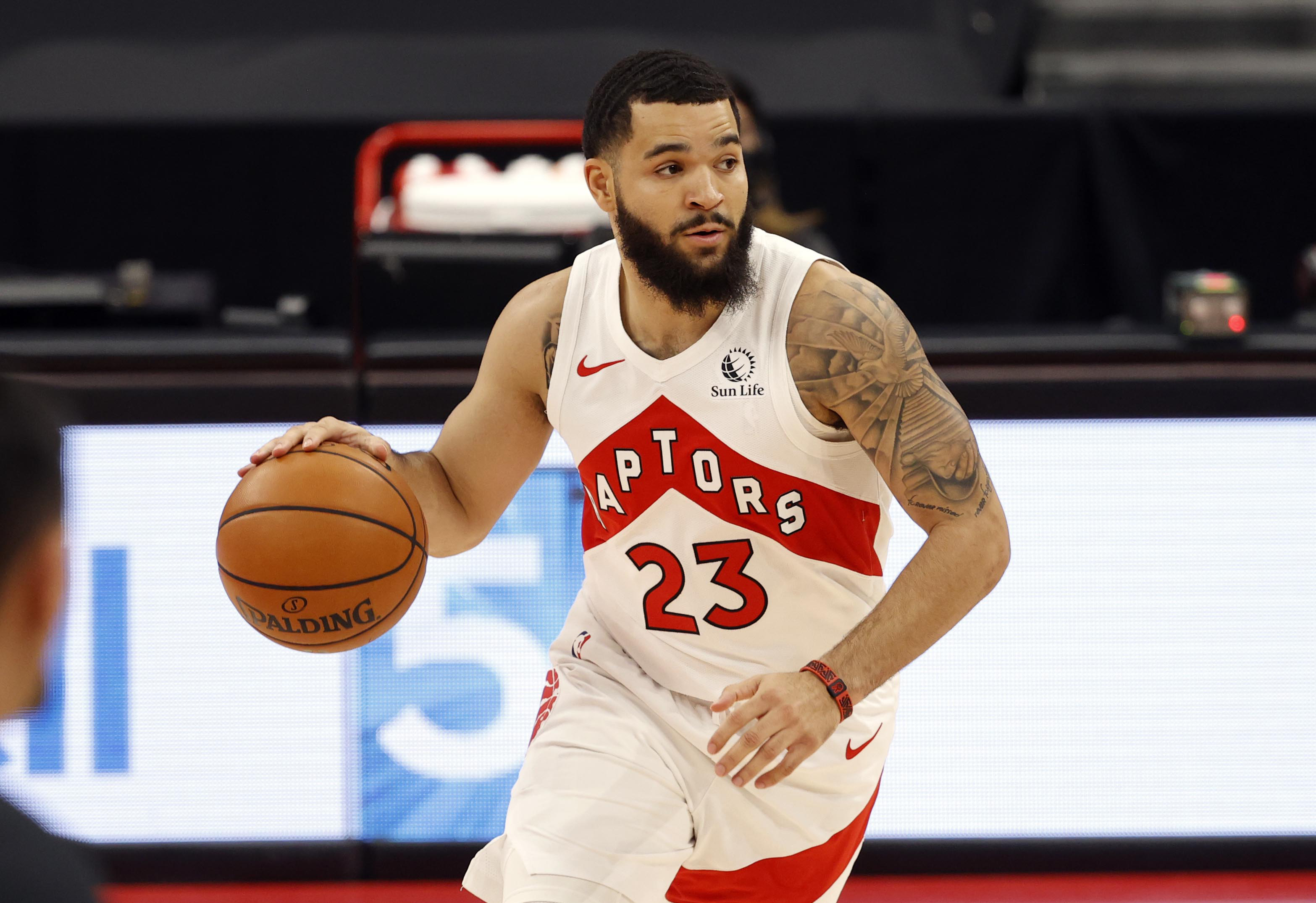 Jan 31, 2021; Tampa, Florida, USA; Toronto Raptors guard Fred VanVleet (23) drives to the basket against the Orlando Magic during the first quarter at Amalie Arena.