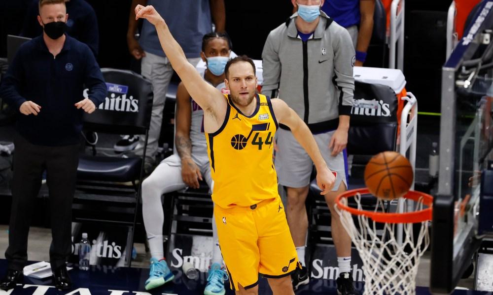 Feb 2, 2021; Salt Lake City, Utah, USA; Utah Jazz forward Bojan Bogdanovic (44) watches his three-pointer fall in the fourth quarter against the Detroit Pistons at Vivint Smart Home Arena.