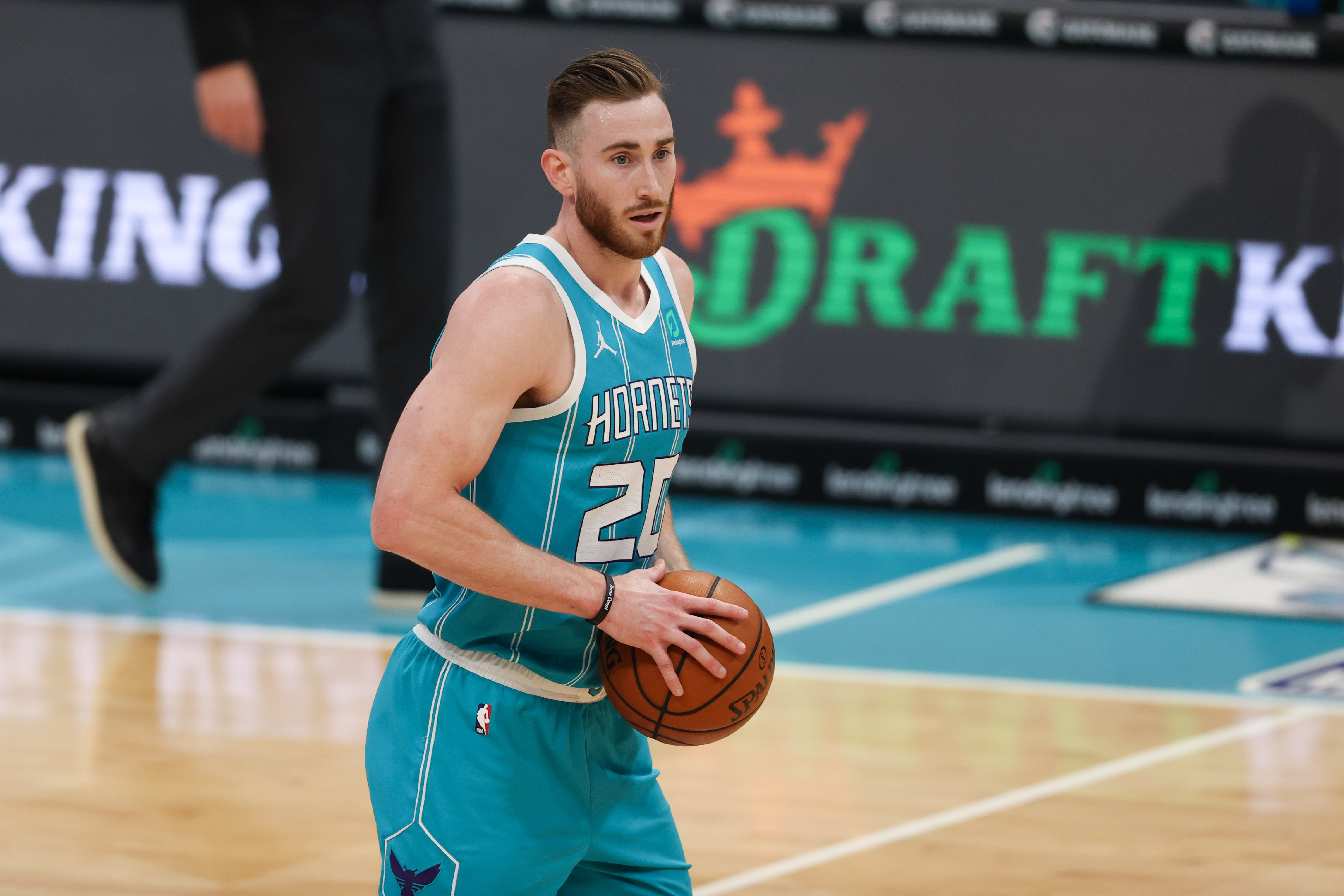 Feb 7, 2021; Charlotte, North Carolina, USA; Charlotte Hornets forward Gordon Hayward (20) brings the ball up court against the Washington Wizards in the second half at Spectrum Center.