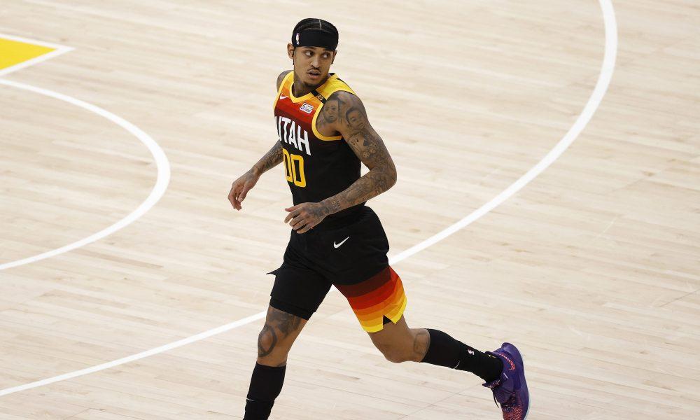 Feb 15, 2021; Salt Lake City, Utah, USA; Utah Jazz guard Jordan Clarkson (00) reacts after a three-pointer in the third quarter at Vivint Smart Home Arena. Mandatory Credit: