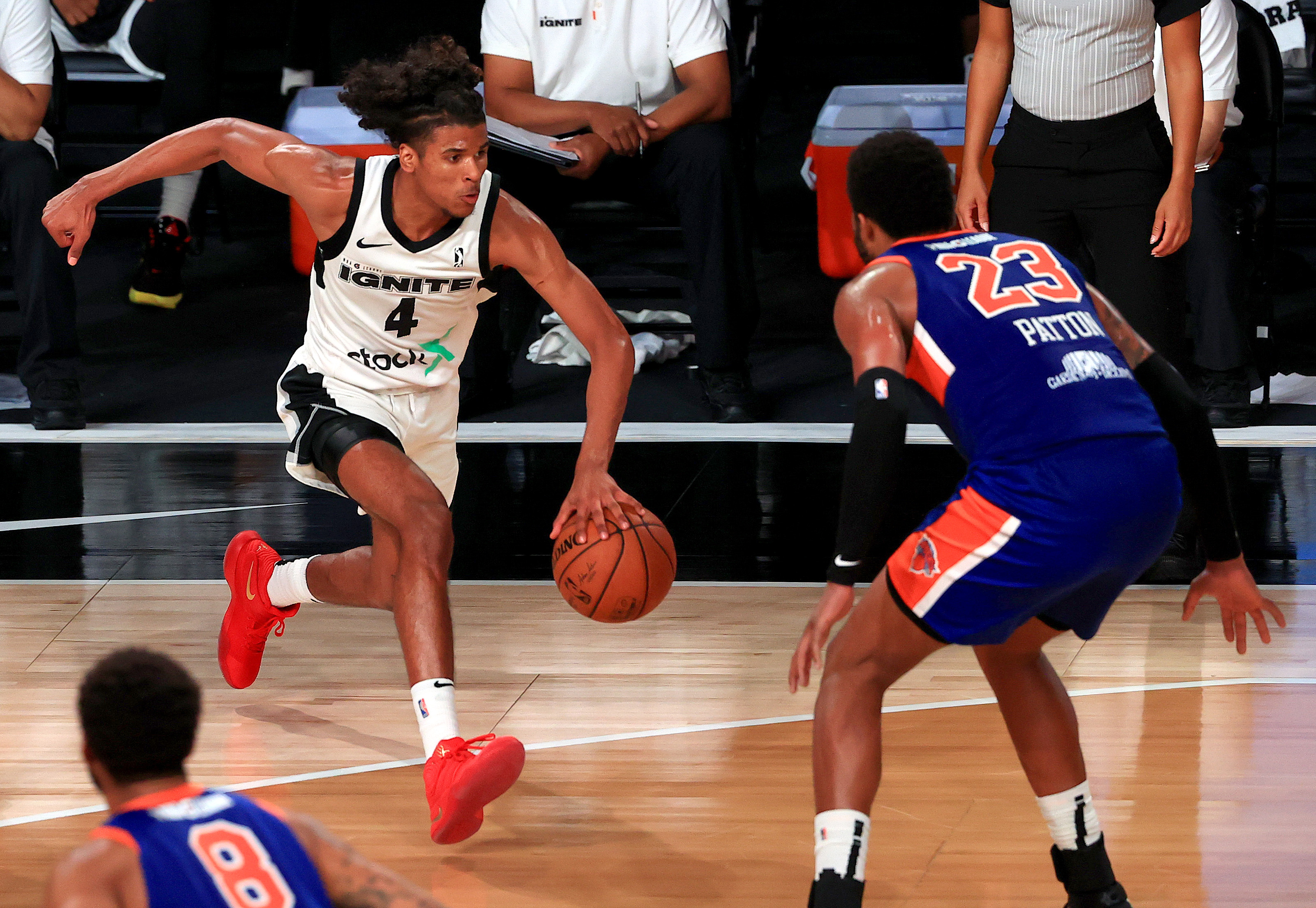 LAKE BUENA VISTA, FLORIDA - FEBRUARY 18: Jalen Green #4 of the G League Ignite drives to the basket during a G-League game against the Westchester Knicks at AdventHealth Arena at ESPN Wide World Of Sports Complex on February 18, 2021 in Lake Buena Vista, Florida.