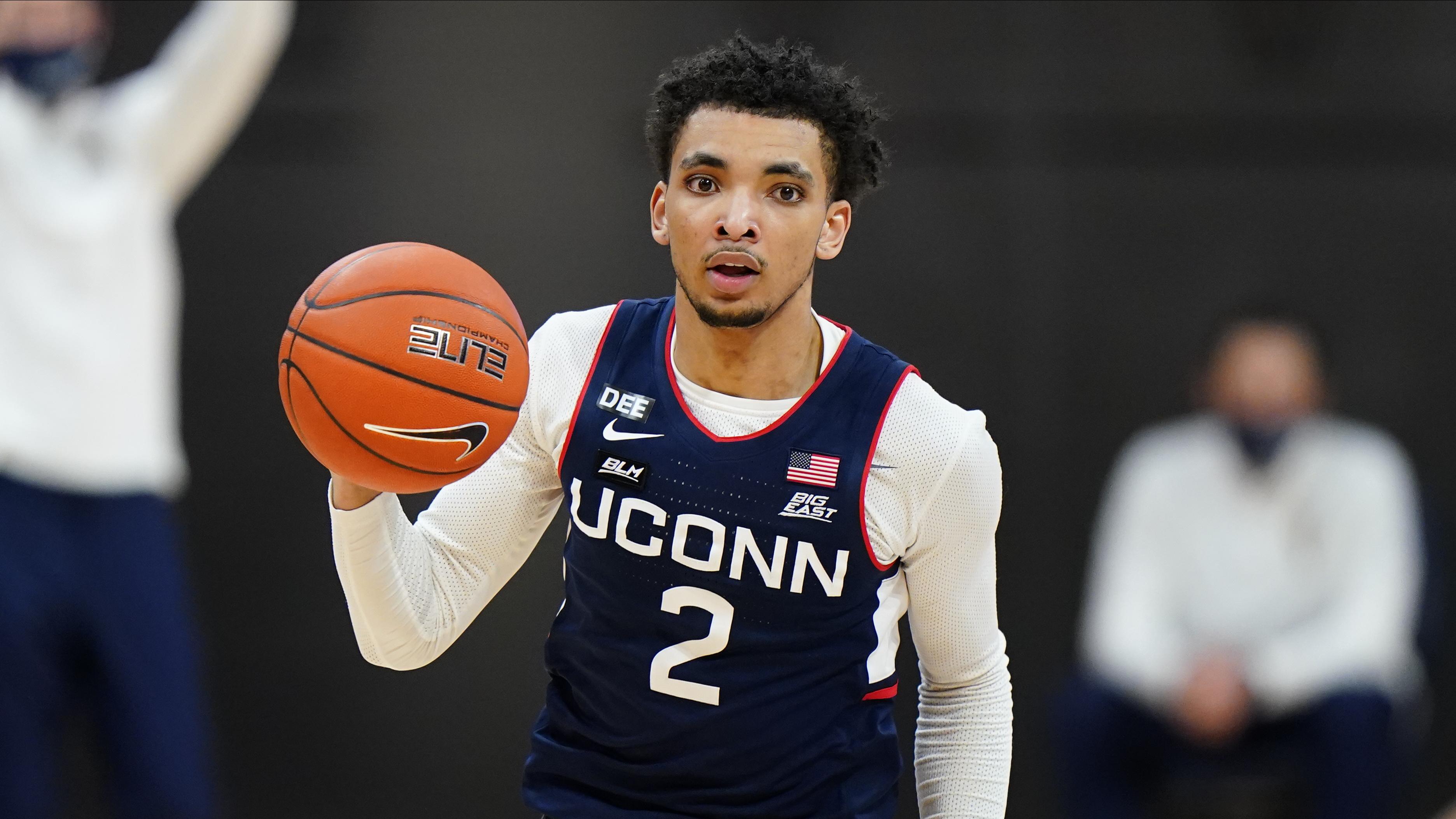Connecticut's James Bouknight plays during an NCAA college basketball game against Villanova, Saturday, Feb. 20, 2021, in Villanova, Pa.