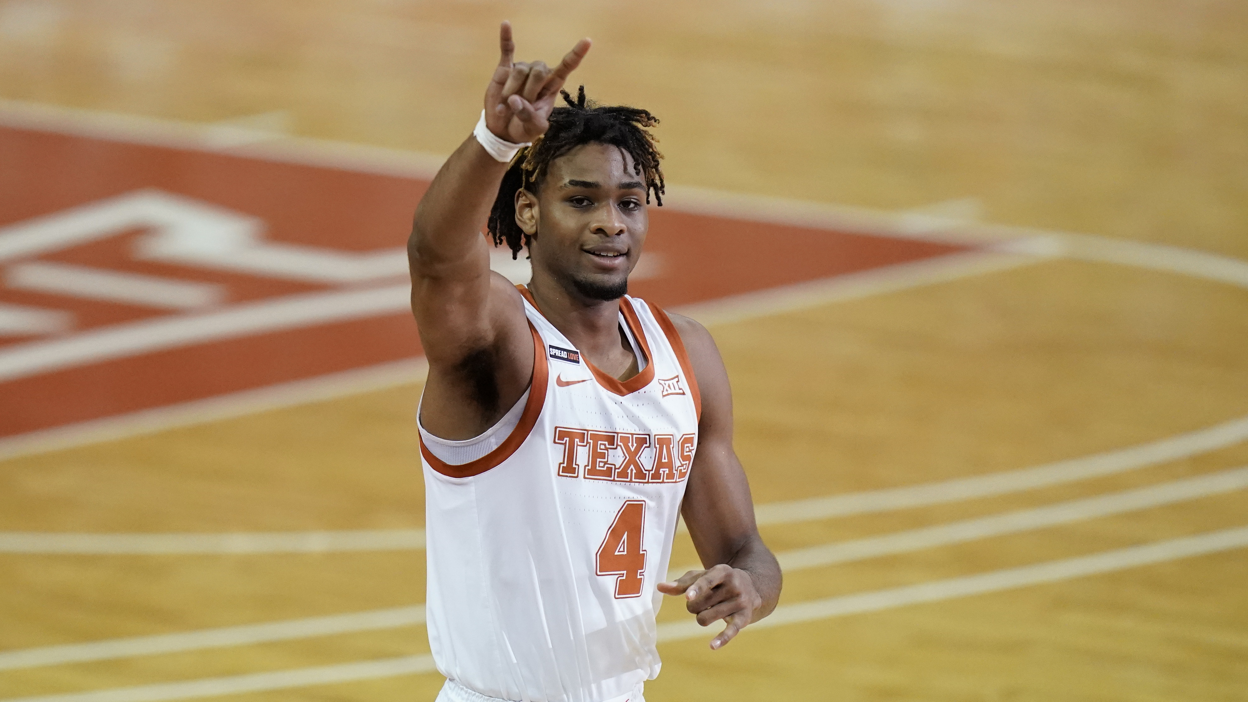 Texas forward Greg Brown (4) during the first half of an NCAA college basketball game against Oklahoma, Tuesday, Jan. 26, 2021, in Austin, Texas.