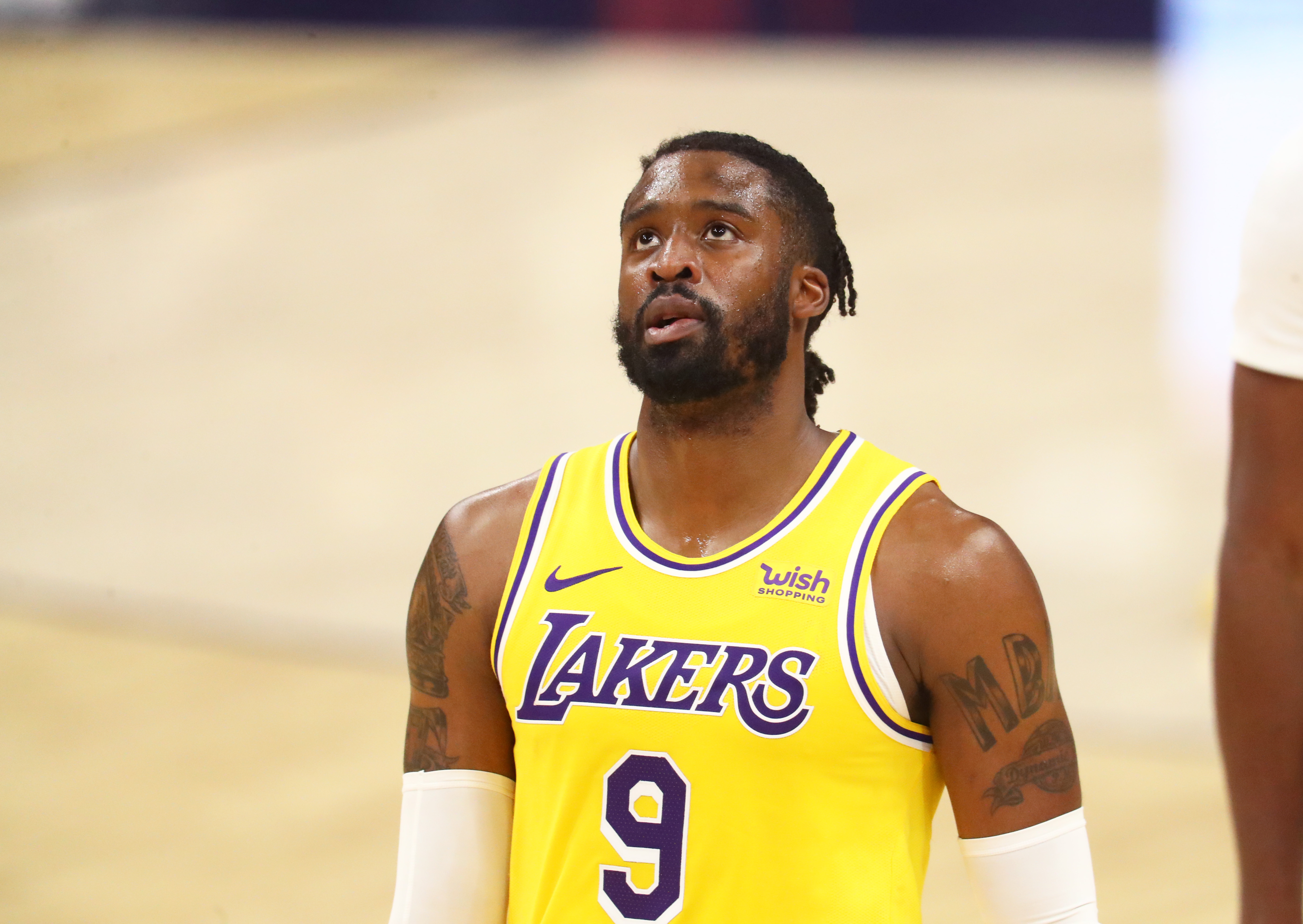 Dec 18, 2020; Phoenix, Arizona, USA; Los Angeles Lakers guard Wesley Matthews (9) against the Phoenix Suns during a preseason game at Phoenix Suns Arena.