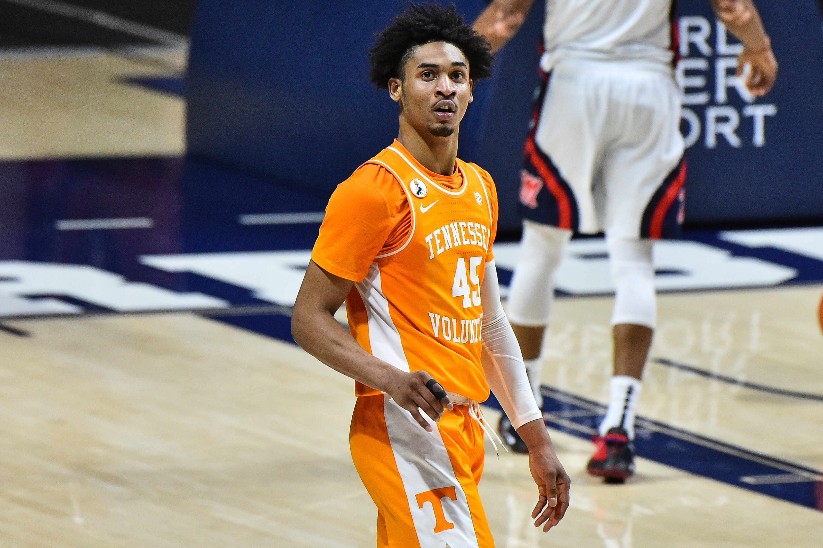 Feb 2, 2021; Oxford, Mississippi, USA; Tennessee Volunteers guard Keon Johnson (45) during the game against the Mississippi Rebels at The Pavilion at Ole Miss.