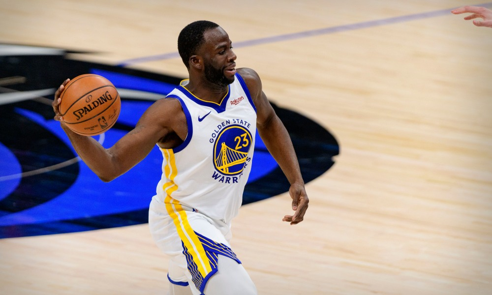 Feb 6, 2021; Dallas, Texas, USA; Golden State Warriors forward Draymond Green (23) in action during the game between the Dallas Mavericks and the Golden State Warriors at the American Airlines Center.