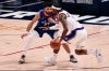 Feb 14, 2021; Denver, Colorado, USA; Los Angeles Lakers guard Kentavious Caldwell-Pope (1) controls the ball as Denver Nuggets guard Jamal Murray (27) guards in the second quarter at Ball Arena.