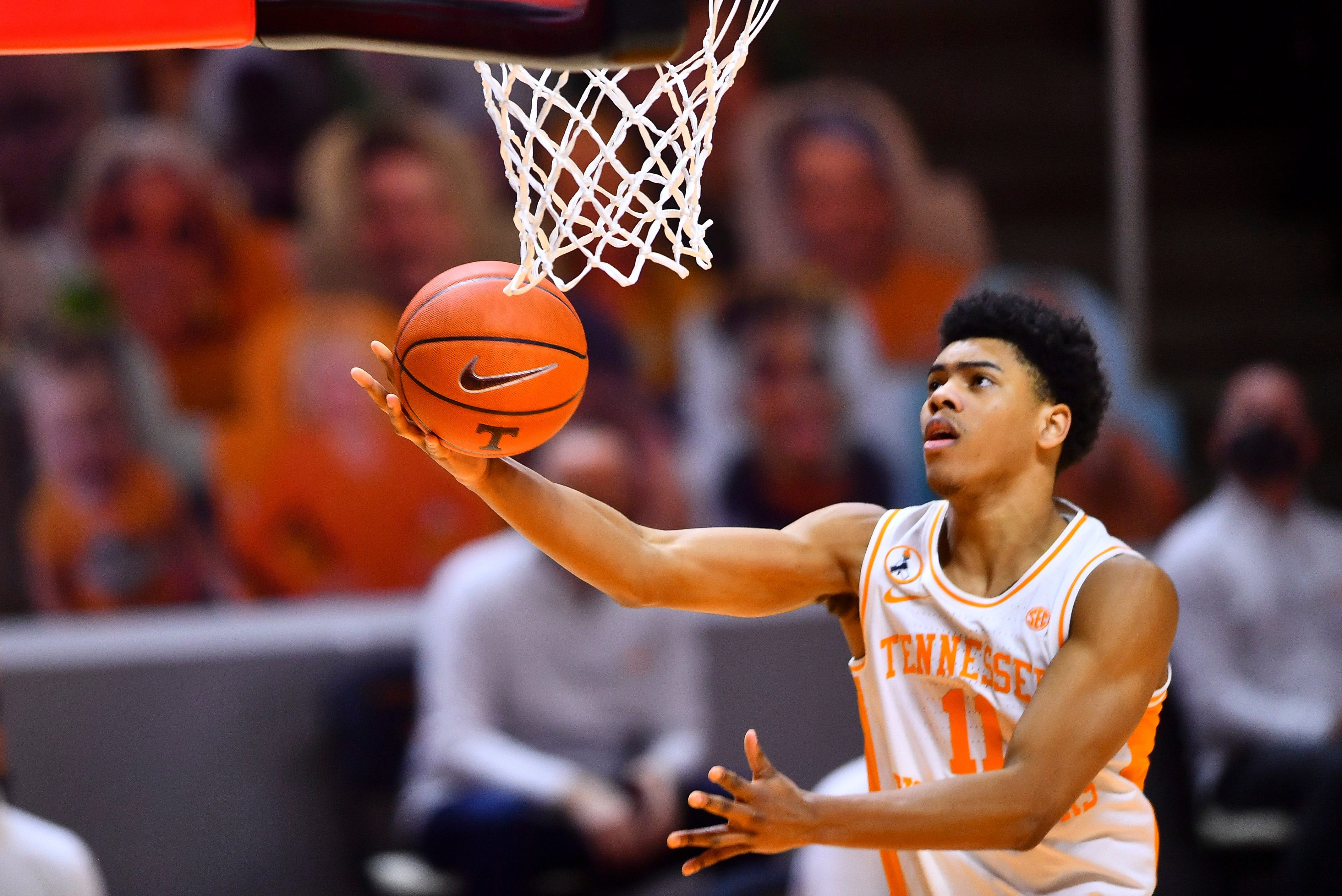Tennessee guard Jaden Springer (11) takes a shot during a basketball game between the Tennessee Volunteers and the South Carolina Gamecocks at Thompson-Boling Arena in Knoxville, Tenn., on Wednesday, February 17, 2021.