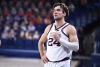 Feb 18, 2021; Spokane, Washington, USA; Gonzaga Bulldogs forward Corey Kispert (24) during a game against the St. Mary's Gaels in the second half at McCarthey Athletic Center. The Bulldogs won 87-65.