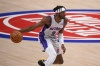 Feb 26, 2021; Detroit, Michigan, USA; Detroit Pistons forward Jerami Grant (9) brings the ball up court during the first quarter against the Sacramento Kings at Little Caesars Arena.
